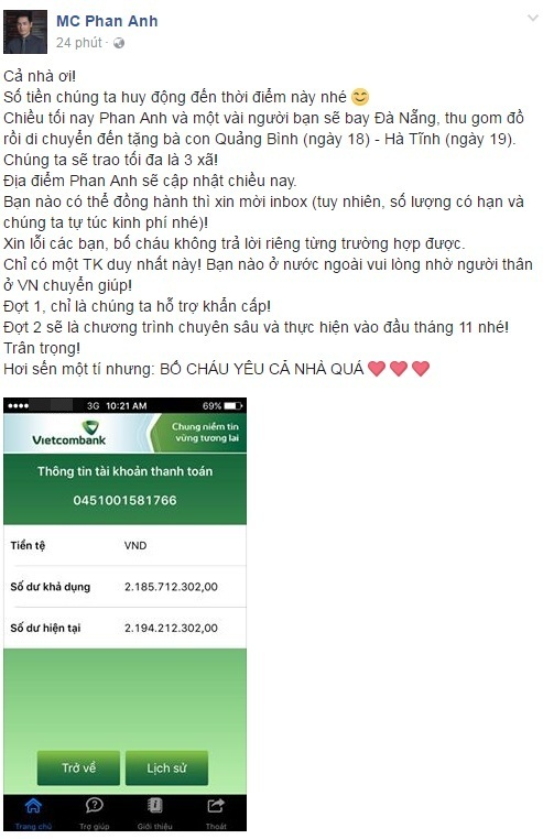 Chưa đầy 24h, MC Phan Anh đã kêu gọi giúp đỡ đồng bào lũ lụt miền Trung được 2,2 tỉ! - Ảnh 1.