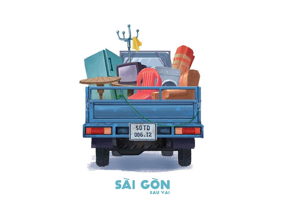 Bộ tranh Sài Gòn sau vai: Khi Sài Gòn thu bé lại chỉ bằng vài bờ vai! - Ảnh 3.