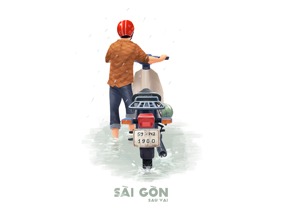 Bộ tranh Sài Gòn sau vai: Khi Sài Gòn thu bé lại chỉ bằng vài bờ vai! - Ảnh 7.
