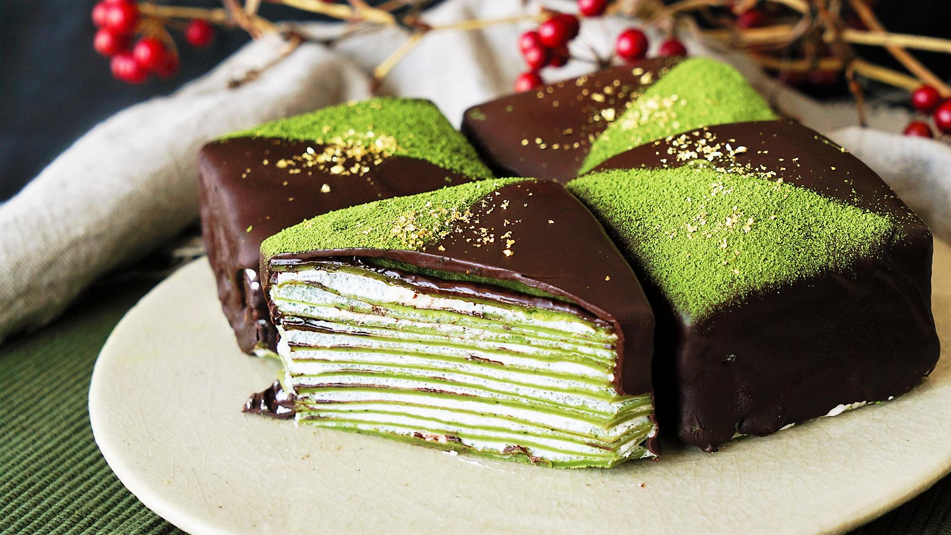Layered Mini Matcha Cakes
