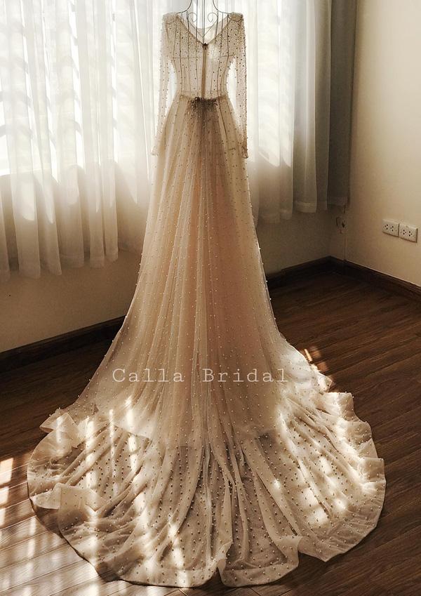 Cận cảnh váy cưới gắn 10.000 viên pha lê của MC thời tiết Mai Ngọc - Ảnh 4.