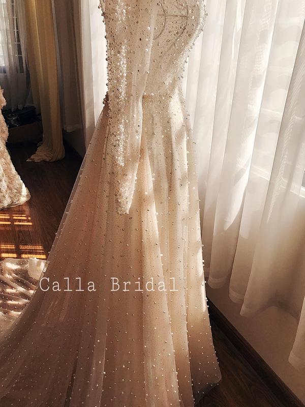 Cận cảnh váy cưới gắn 10.000 viên pha lê của MC thời tiết Mai Ngọc - Ảnh 5.