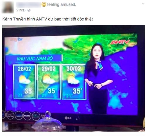 Bản tin dự báo thời tiết cho ngày... 30/2 trên kênh ANTV gây bão mạng xã hội - Ảnh 2.