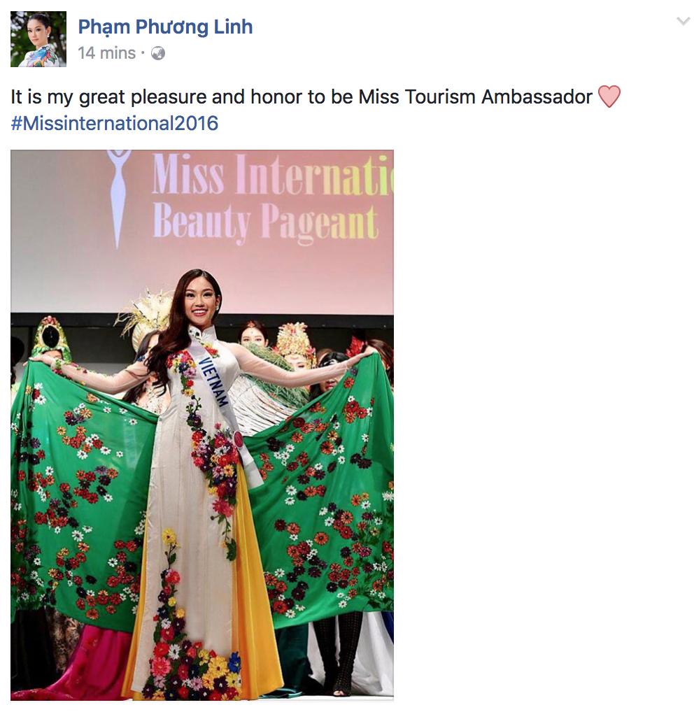 Chỉ vừa bắt đầu vài ngày, đại diện Việt Nam - Phương Linh đã giành danh hiệu tại Hoa hậu Quốc tế 2016 - Ảnh 1.