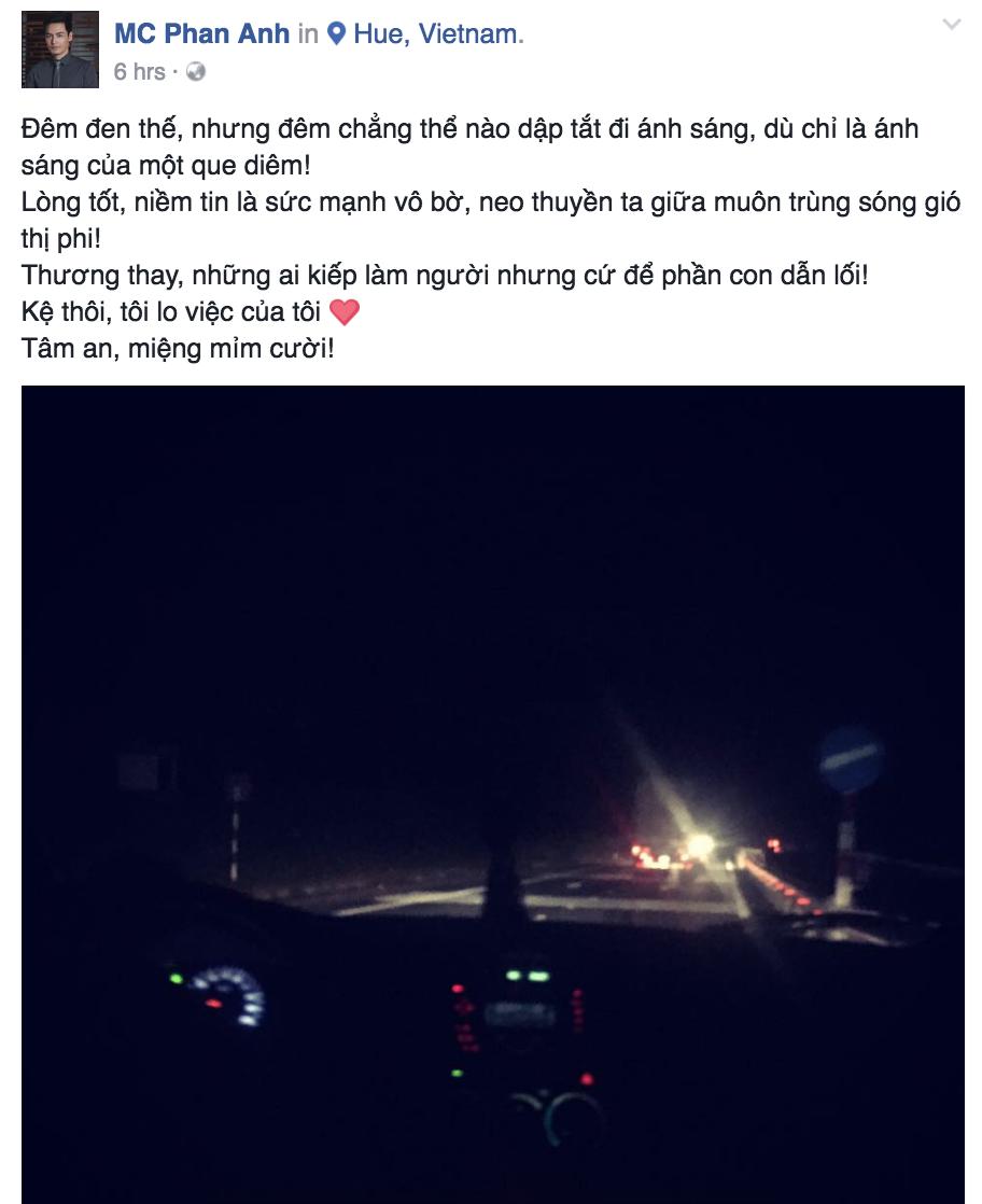 MC Phan Anh lên đường đến Quảng Bình ngay trong đêm, viết vội đôi dòng về lòng nhân ái - Ảnh 1.