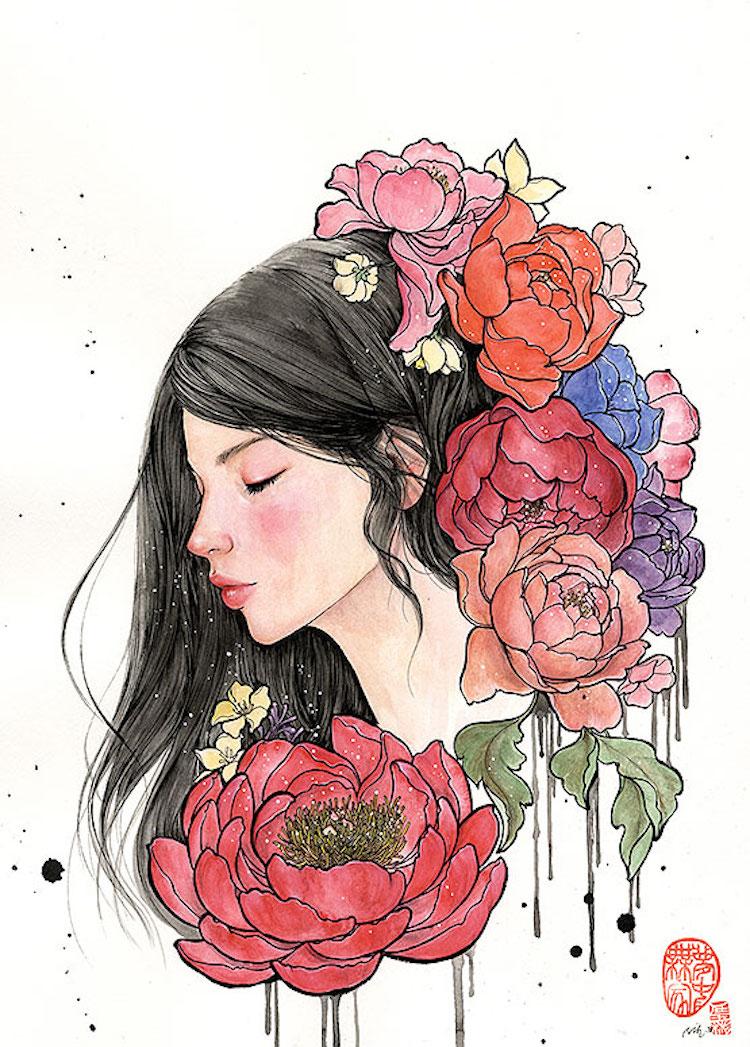 Bộ tranh những cô gái e ấp bên hoa cỏ đẹp dịu dàng khiến ta ngỡ là tiên nữ đời thực - Ảnh 11.