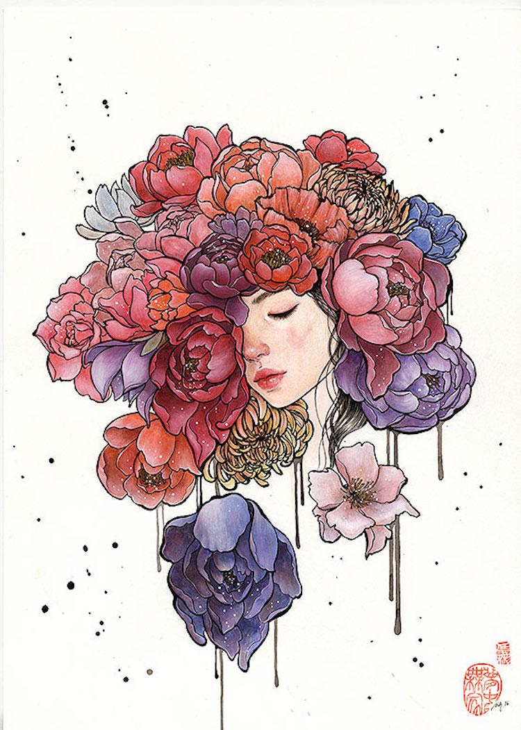 Bộ tranh những cô gái e ấp bên hoa cỏ đẹp dịu dàng khiến ta ngỡ là tiên nữ đời thực - Ảnh 13.