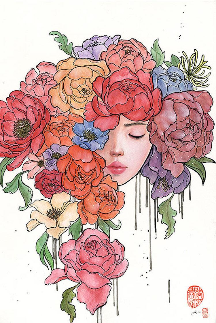 Bộ tranh những cô gái e ấp bên hoa cỏ đẹp dịu dàng khiến ta ngỡ là tiên nữ đời thực - Ảnh 15.