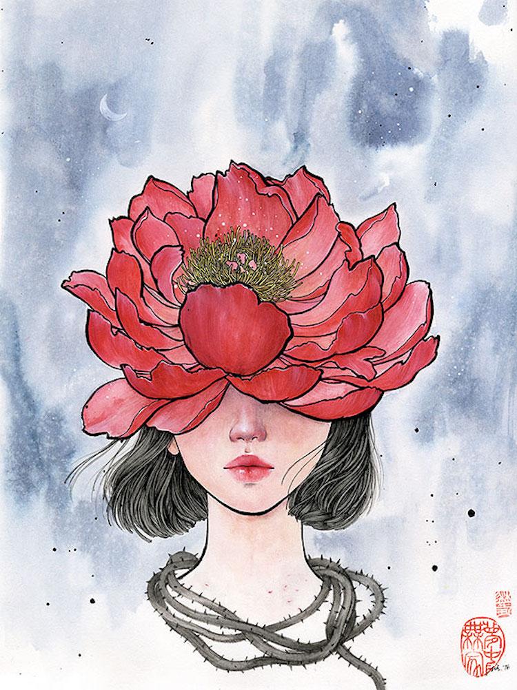 Bộ tranh những cô gái e ấp bên hoa cỏ đẹp dịu dàng khiến ta ngỡ là tiên nữ đời thực - Ảnh 17.