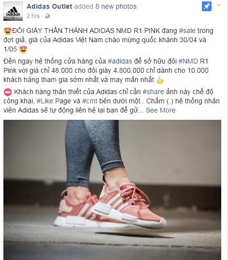 Hết Zara Outlet lừa đảo, lại thêm page giả mạo adidas tung tin mua NMD hồng đang hot với giá 48.000 đồng - Ảnh 1.