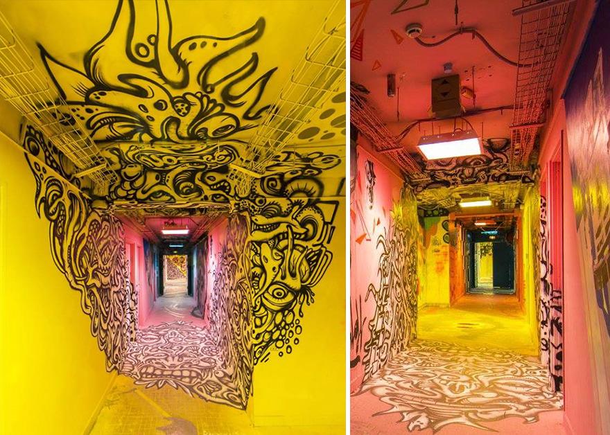 Các họa sĩ graffiti biến ký túc xá bỏ hoang thành triển lãm tranh nghệ thuật - Ảnh 3.