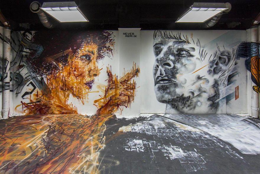 Các họa sĩ graffiti biến ký túc xá bỏ hoang thành triển lãm tranh nghệ thuật - Ảnh 17.