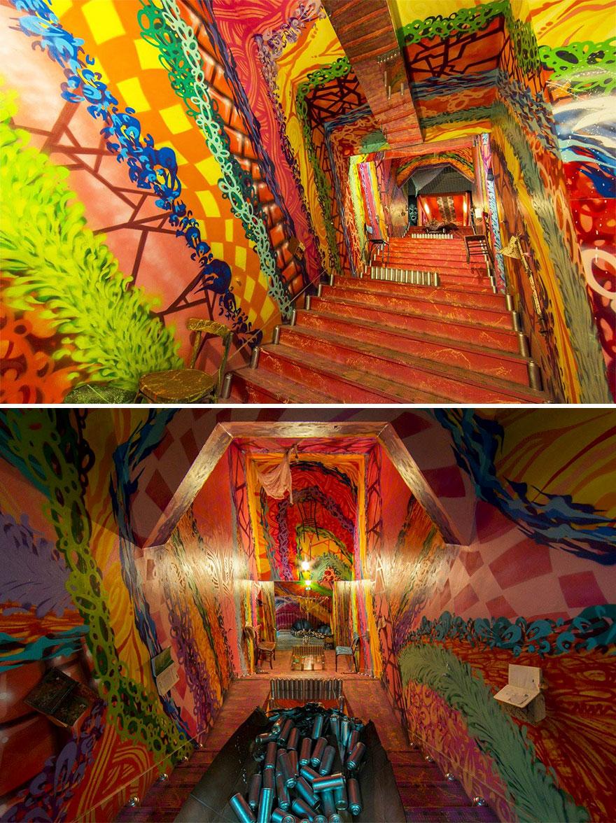 Các họa sĩ graffiti biến ký túc xá bỏ hoang thành triển lãm tranh nghệ thuật - Ảnh 7.