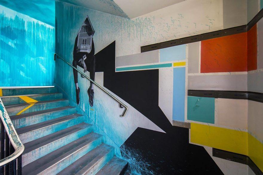 Các họa sĩ graffiti biến ký túc xá bỏ hoang thành triển lãm tranh nghệ thuật - Ảnh 15.