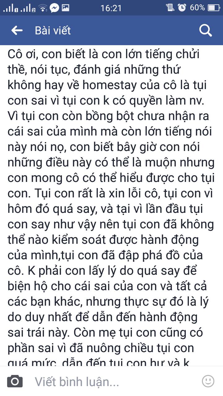 Nhóm học sinh lớp 9 xin lỗi cô chủ homestay ở Vũng Tàu sau khi nhậu say, đập phá tài sản giữa đêm - Ảnh 9.
