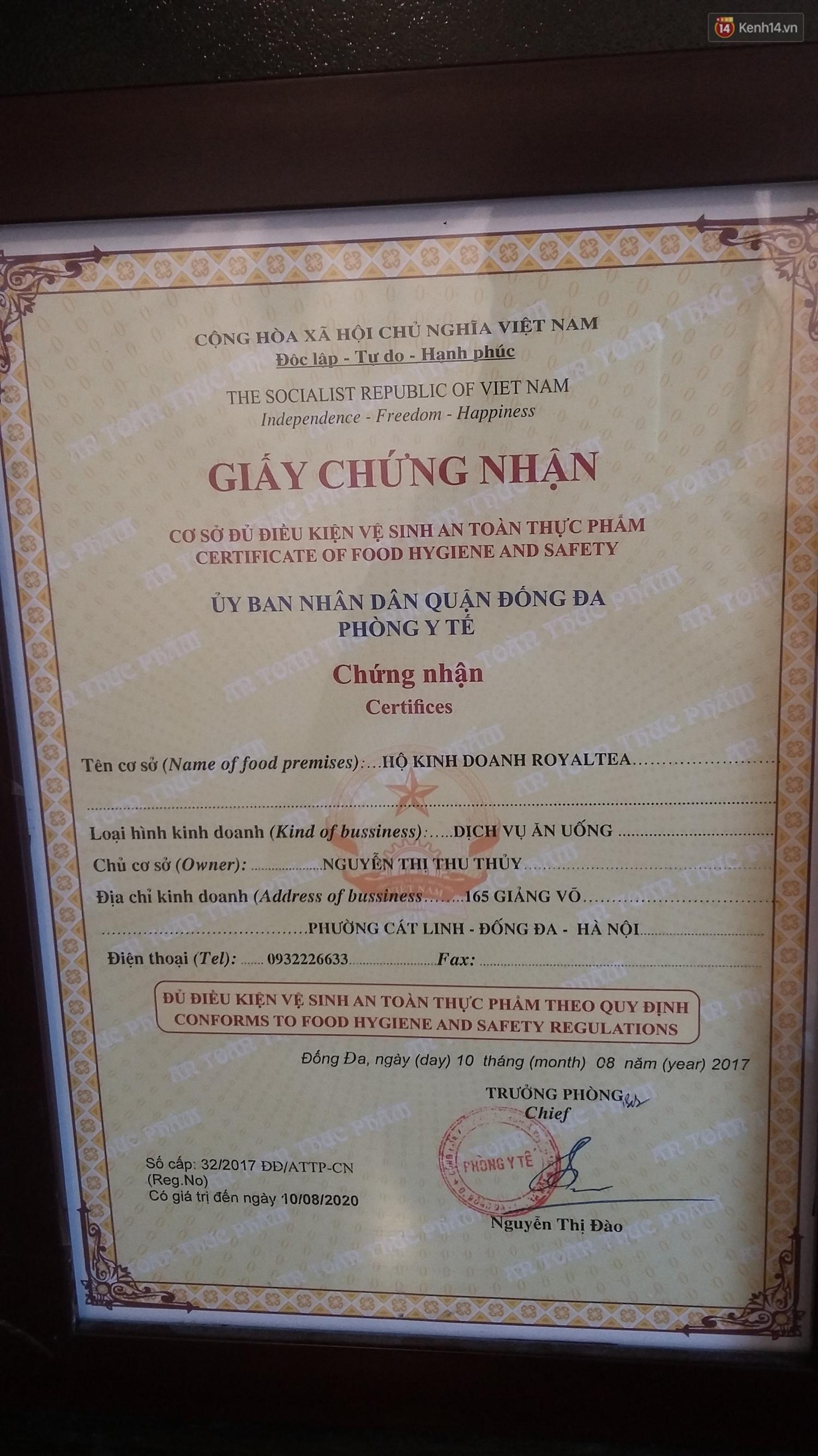 Chủ sở hữu của các chuỗi Royaltea tại Hà Nội, Sài Gòn: Thương hiệu Royaltea không được bảo hộ nên ai cũng có thể kinh doanh mà không vi phạm pháp luật - Ảnh 8.