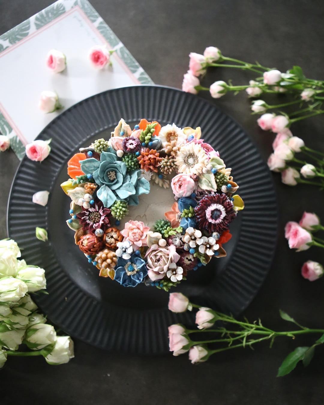 Bộ sưu tập bánh cưới hoa cỏ đẹp như thật của đầu bếp Hàn Quốc - Ảnh 21.