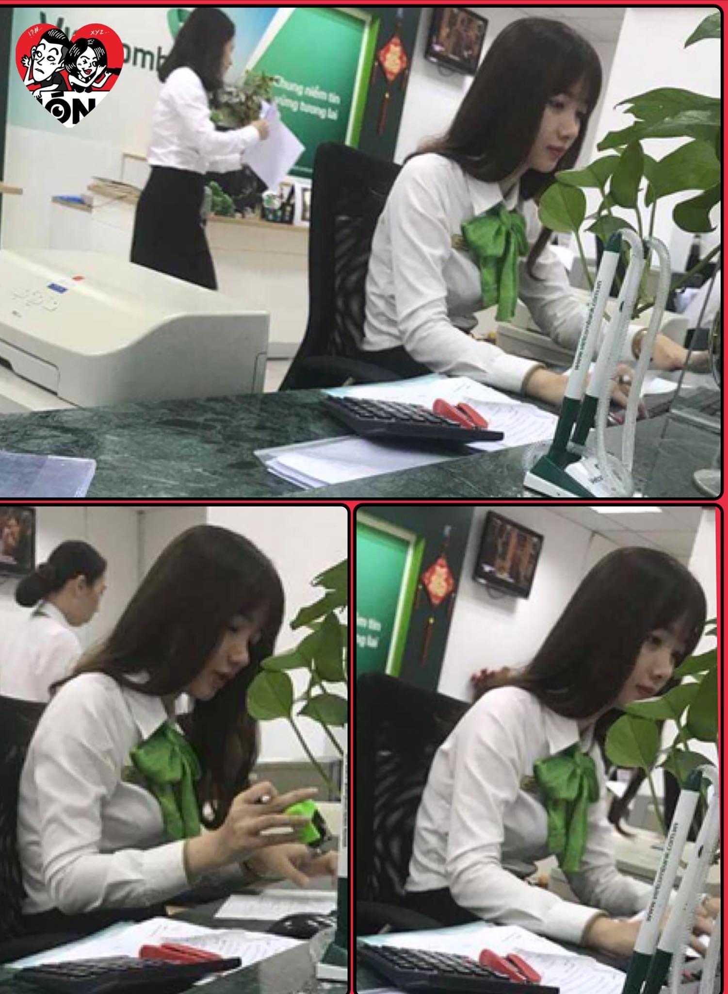 """Nữ giao dịch viên ngân hàng bị khách chụp lén rồi đăng ảnh lên Facebook nhờ """"tìm link"""" vì rất xinh - Ảnh 1."""