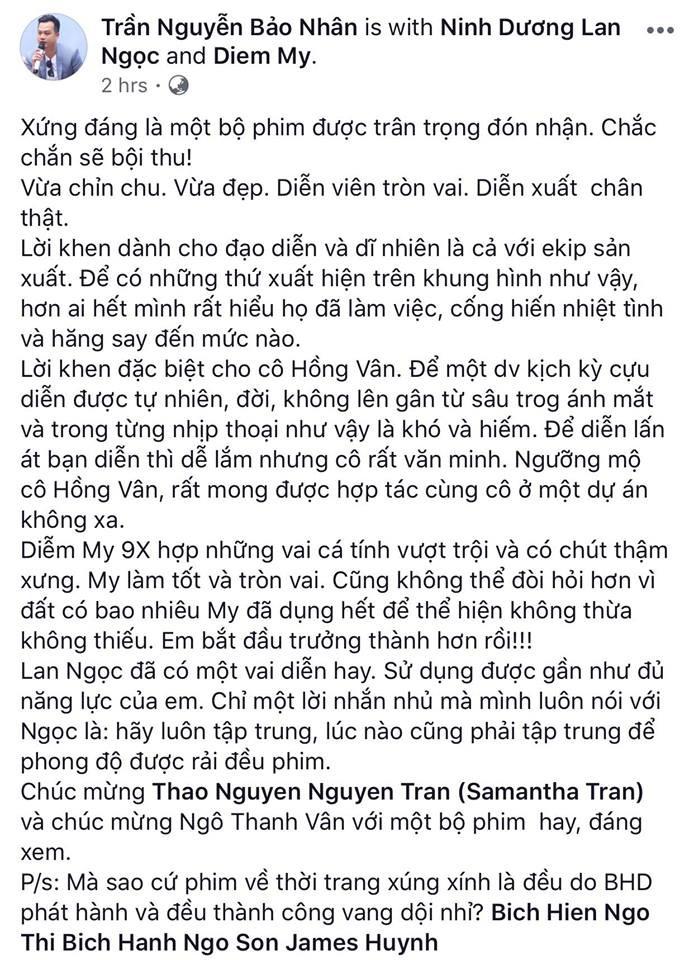 Tăng Thanh Hà, Lương Mạnh Hải và nhiều sao Việt đồng loạt khen ngợi Cô Ba Sài Gòn hết lời - Ảnh 4.