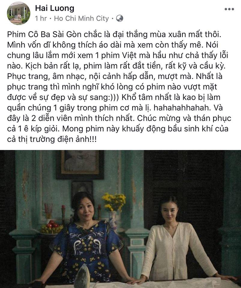 Tăng Thanh Hà, Lương Mạnh Hải và nhiều sao Việt đồng loạt khen ngợi Cô Ba Sài Gòn hết lời - Ảnh 3.