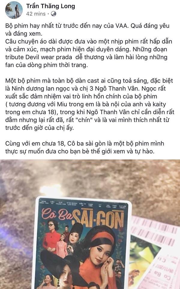 Tăng Thanh Hà, Lương Mạnh Hải và nhiều sao Việt đồng loạt khen ngợi Cô Ba Sài Gòn hết lời - Ảnh 10.