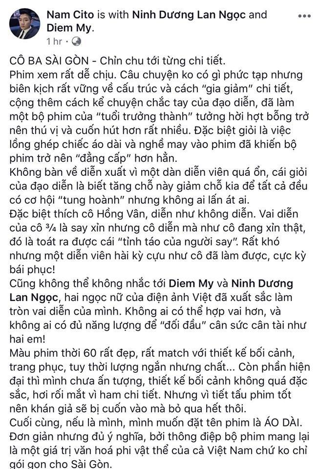 Tăng Thanh Hà, Lương Mạnh Hải và nhiều sao Việt đồng loạt khen ngợi Cô Ba Sài Gòn hết lời - Ảnh 5.