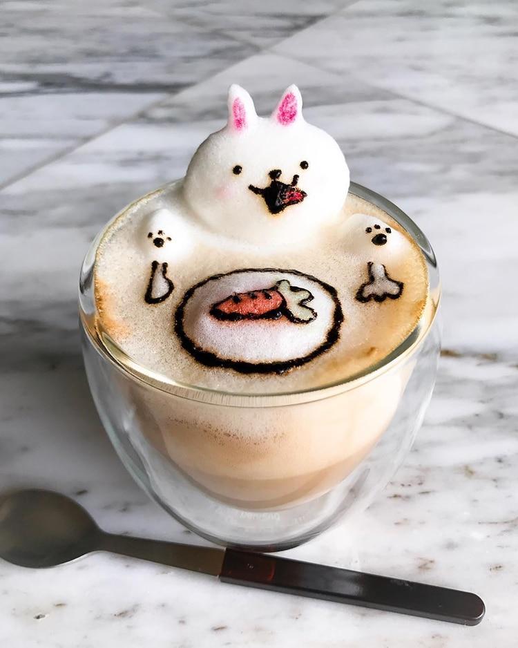 Nghệ thuật đúc tượng hoạt hình 3D làm từ bọt cà phê - Ảnh 1.