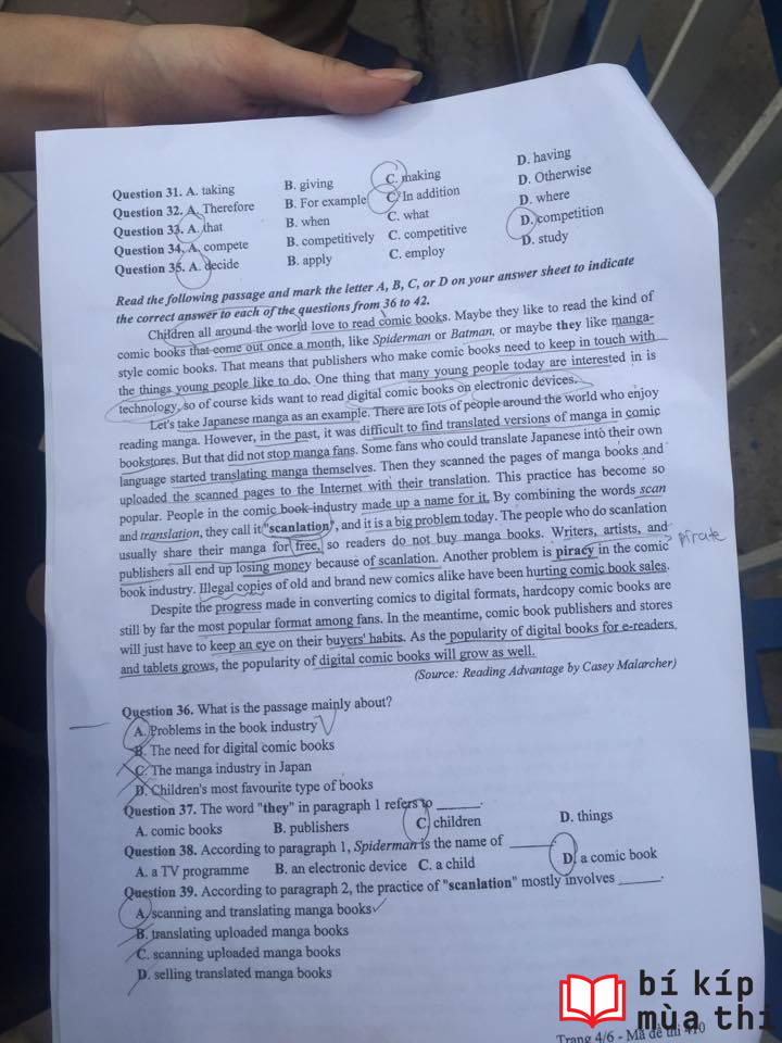 HOT: Gợi ý đáp án môn Anh kì thi tốt nghiệp THPTQG 2017 - Ảnh 7.