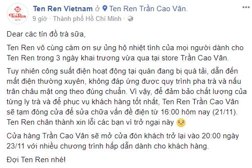 Đại diện trà sữa Ten Ren thừa nhận thiếu sót, khẳng định: Thà mất doanh thu còn hơn không thể mang đến sản phẩm và dịch vụ tốt nhấtT - Ảnh 4.
