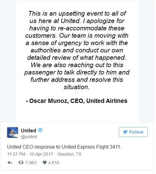 CEO hãng hàng không United Airlines lên tiếng xin lỗi sau vụ việc kéo hành khách xuống máy bay - Ảnh 2.