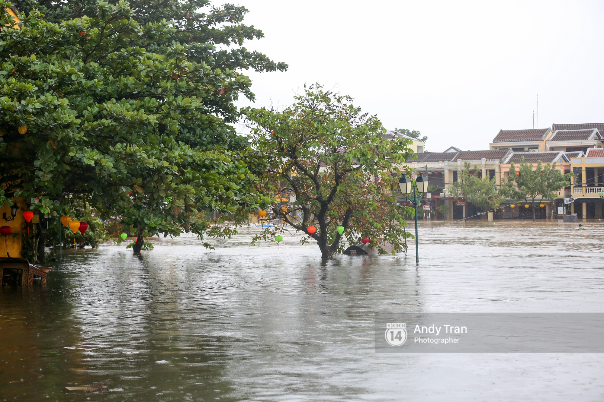 Chùm ảnh: Hội An nước ngập thành sông do ảnh hưởng của bão, người dân và du khách chật vật dùng thuyền bè di chuyển - Ảnh 1.