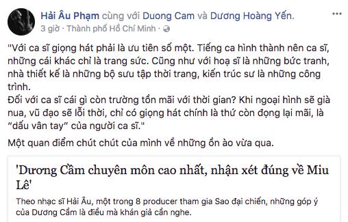 """Nhạc sĩ Hải Âu bênh quan điểm của Dương Cầm, Mỹ Linh lại bình luận khen """"Miu Lê hát hay đấy"""" - Ảnh 1."""