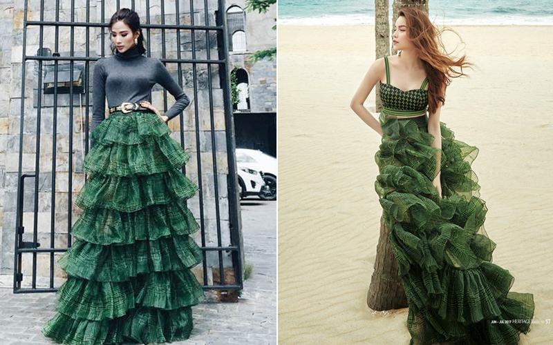 1 chiếc váy 2 số phận: Hà Hồ sexy bao nhiêu, Hoàng Thùy giống... cây thông Noel bấy nhiêu - Ảnh 5.