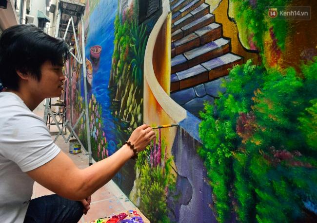 Ngắm bức tranh tường 3D phong cảnh góc phố Venice đầy màu sắc trong ngõ nhỏ Hà Nội - Ảnh 3.