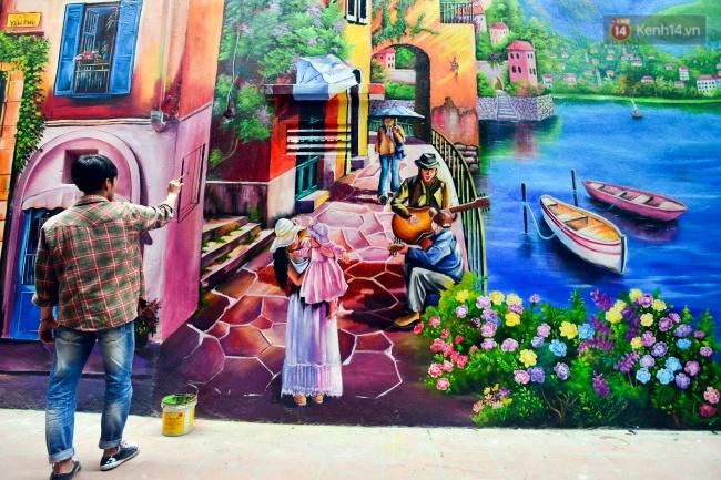 Ngắm bức tranh tường 3D phong cảnh góc phố Venice đầy màu sắc trong ngõ nhỏ Hà Nội - Ảnh 6.