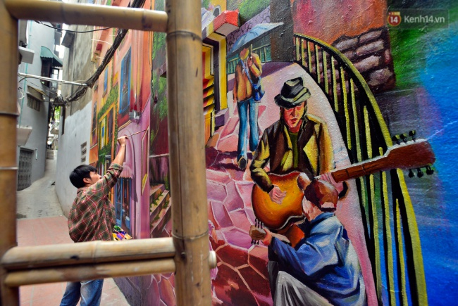 Ngắm bức tranh tường 3D phong cảnh góc phố Venice đầy màu sắc trong ngõ nhỏ Hà Nội - Ảnh 8.