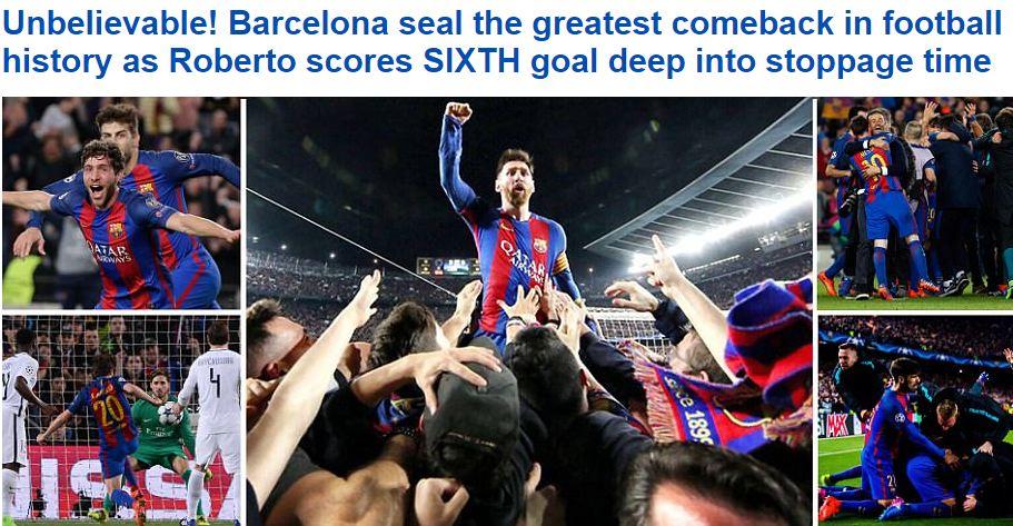 Thế giới bóng đá phát điên vì chiến thắng không tưởng của Barca - Ảnh 2.