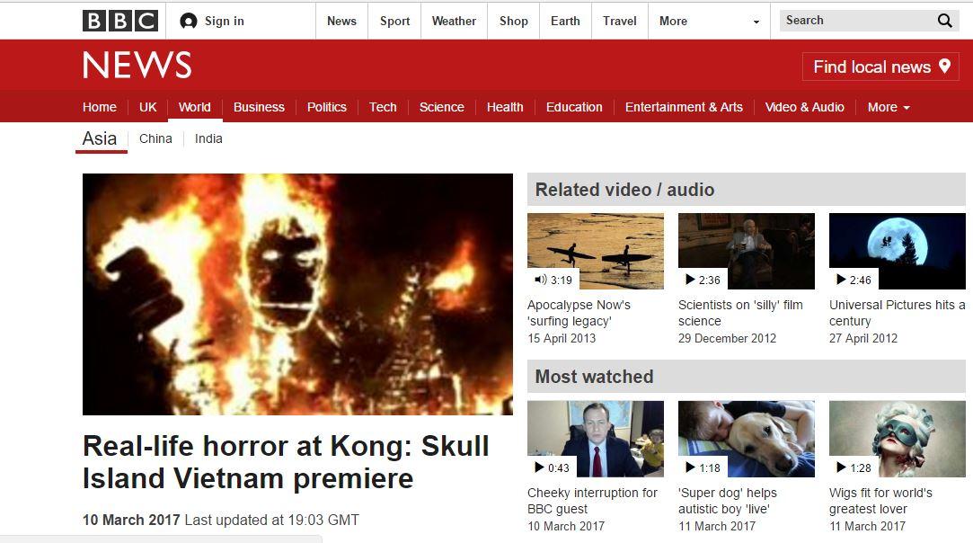 Vụ cháy mô hình Kong buổi ra mắt phim Kong: Skull Island xuất hiện trên báo nước ngoài - Ảnh 2.