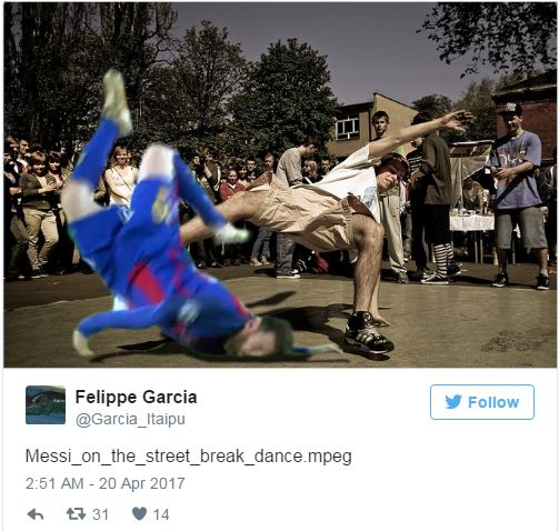 Bức ảnh Messi ngã sấp mặt gây bão - Ảnh 2.