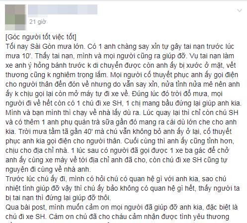 Câu chuyện đẹp giữa lòng Sài Gòn: Người đàn ông chạy SH dừng dưới mưa 40 phút bên nam thanh niên say xỉn - Ảnh 1.