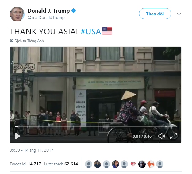 Hình ảnh Việt Nam xuất hiện đầu tiên trong video cảm ơn châu Á của Tổng thống Donald Trump - Ảnh 2.