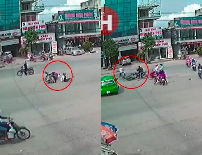 Clip: Phóng xe tông thẳng vào người phụ nữ đang sang đường, nam thanh niên bỏ chạy rồi tông tiếp vào 2 xe khác - Ảnh 2.