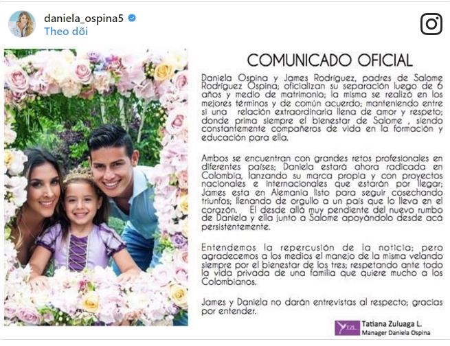 James Rodriguez ly dị Daniela Ospina sau 6 năm chung sống - Ảnh 3.