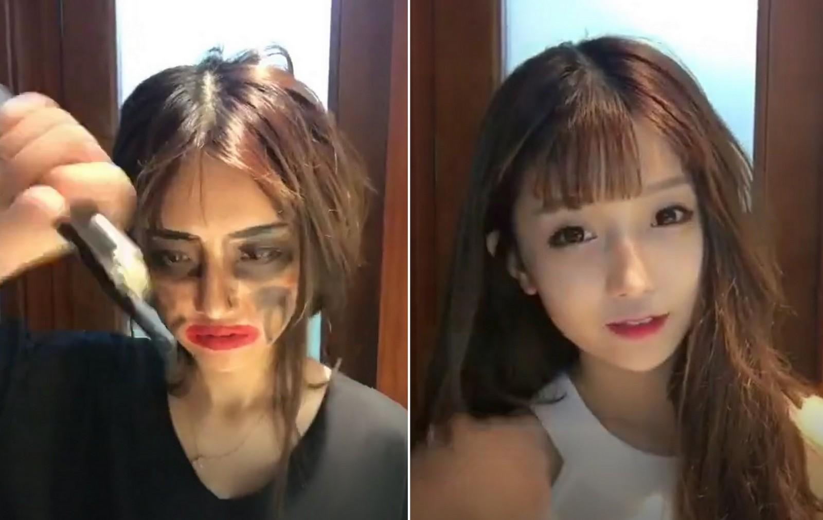 Lột xác từ xấu thành xinh trong 16s: Loạt clip của các hot girl Trung Quốc đang càn quét khắp Facebook - Ảnh 8.