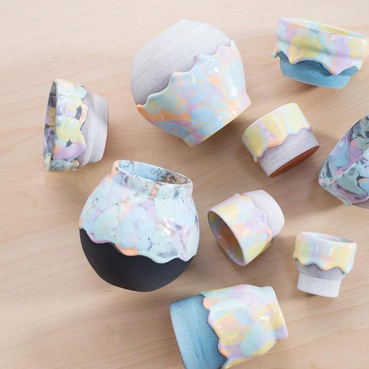 Bộ sưu tập cốc chén từ gốm nặn tay đẹp lung linh tựa cầu vồng - Ảnh 15.