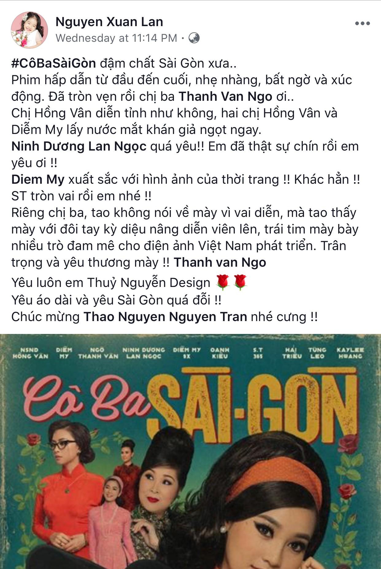 Tăng Thanh Hà, Lương Mạnh Hải và nhiều sao Việt đồng loạt khen ngợi Cô Ba Sài Gòn hết lời - Ảnh 19.