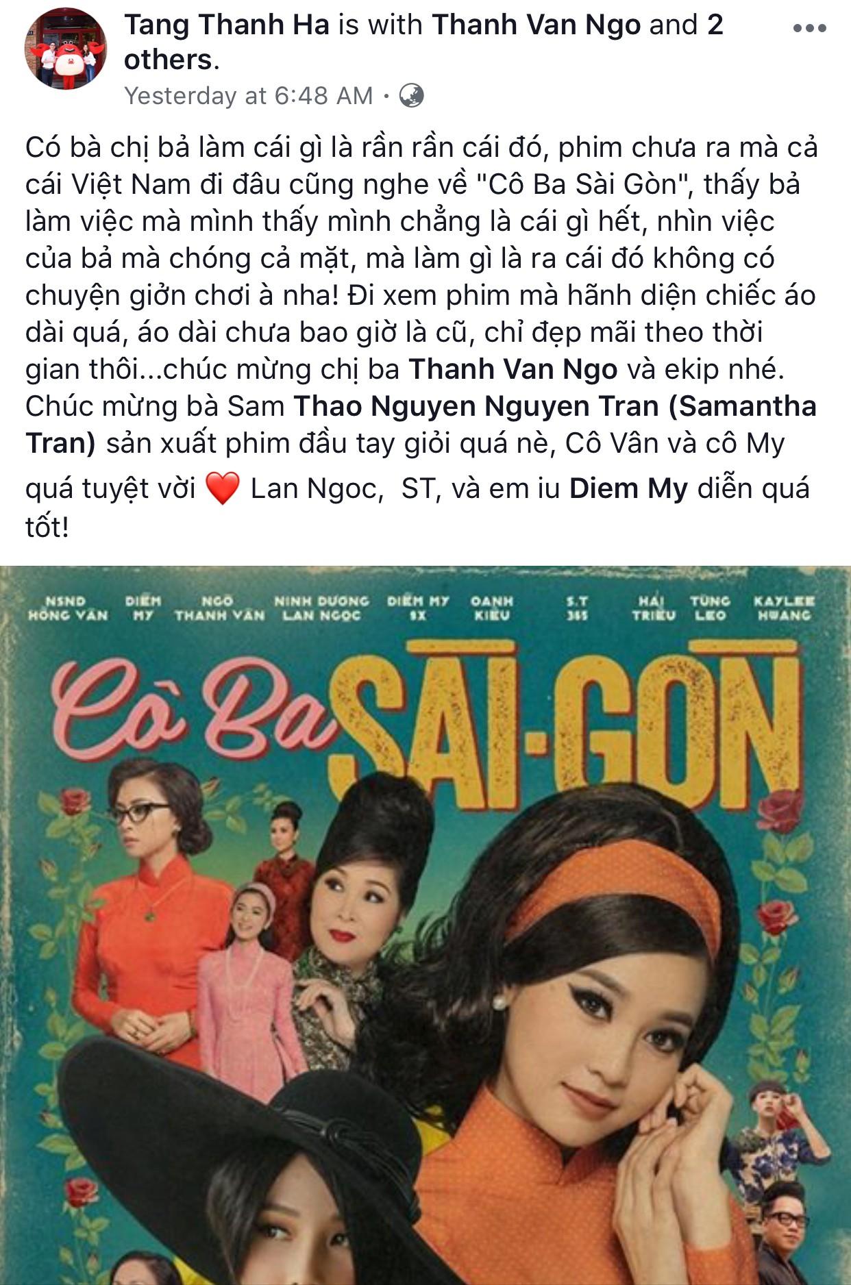 Tăng Thanh Hà, Lương Mạnh Hải và nhiều sao Việt đồng loạt khen ngợi Cô Ba Sài Gòn hết lời - Ảnh 2.
