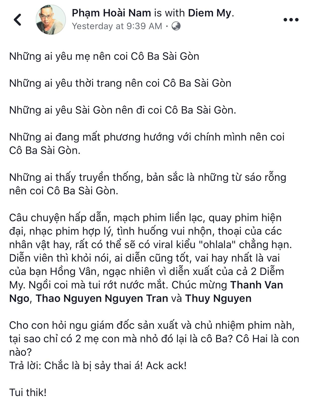 Tăng Thanh Hà, Lương Mạnh Hải và nhiều sao Việt đồng loạt khen ngợi Cô Ba Sài Gòn hết lời - Ảnh 17.