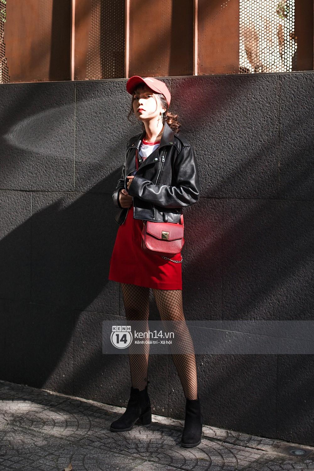 Street style 2 miền: biker jacket, màu đỏ và chân váy mini là 3 thần chú trong từ điển mix đồ của giới trẻ - Ảnh 12.