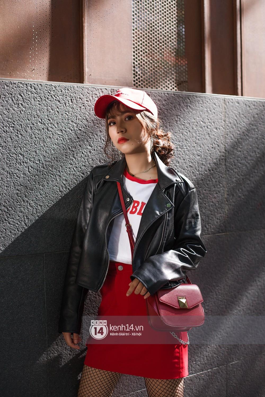 Street style 2 miền: biker jacket, màu đỏ và chân váy mini là 3 thần chú trong từ điển mix đồ của giới trẻ - Ảnh 11.